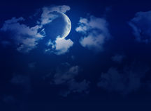 Free Big Sky With Full Moon, Clouds & Stars Stock Photo - 16676680