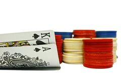 Big slick. Opening hand of texas hold em poker Stock Photography