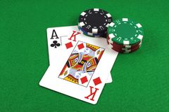 Big Slick - Ace King with poker chips. On a green poker baize Stock Photos