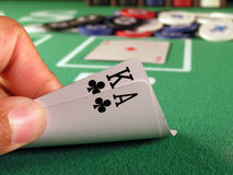 Big Slick Clubs. Big slick, ace and king of clubs as a hold?em poker starting hand Royalty Free Stock Photos