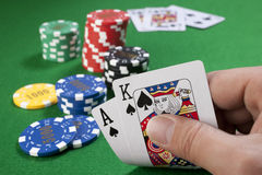 Big slick with gambling chips Stock Photo