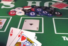 Big Slick Hearts. Big slick, ace and king of hearts as a Texas hold?em poker starting hand Stock Photo