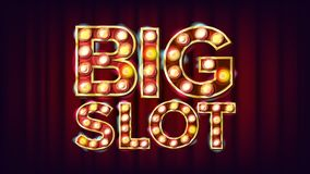 Big Slot Banner Vector. Casino Lamp Background. For Fortune Advertising Design. Gamble Illustration. Big Slot Banner Vector. Casino Lamp Background. For Fortune Royalty Free Stock Photo