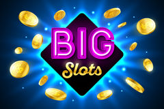 Big Slots bright banne. Big Slots bright casino banner with big slots inscription sign on bright background and explosion of cold coins flying around stock illustration