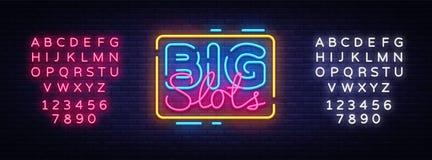 Big Slots sign vector design template. Casino neon logo, light banner design element colorful modern design trend, night vector illustration