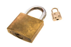 Big and small. Padlocks placed over white Stock Image