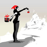 Big and small. Vector illustration of a woman giving a small gift and hiding a bigger one behind her vector illustration