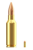 Big and small ammo cartridges on white. Big and small ammunition cartridges isolated on white. High resolution 3D image royalty free illustration
