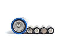 Big and small batteries stock image
