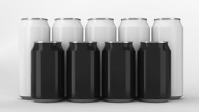 Black and white soda cans standing in two raws on white background. Big and small black and white soda cans standing in two raws on white background. Beverage Stock Image