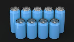 Blue soda cans standing in two raws on black background. Big and small blue soda cans standing in two raws on black background. Beverage mockup. Tin package of Royalty Free Stock Photo