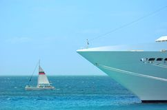 Big and small boat Royalty Free Stock Images