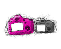 Big and small camera, sketch for your design Royalty Free Stock Photography