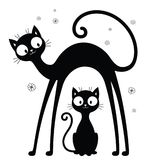 Big and small cats silhouettes. Cartoon two cats silhouettes. Black and white decorative illustration Stock Image