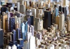 Big small city 2. Model of a downtown. Skyscrapers in focus Royalty Free Stock Image