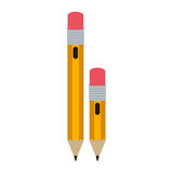 Big and small design pencil with eraser. Illustration Stock Images
