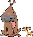 Big and small dogs cartoon illustration Stock Image