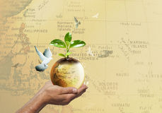 Big and small earth Royalty Free Stock Images