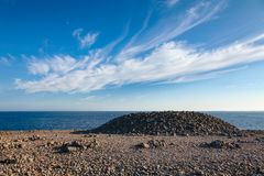 Cairns made of cobble deposits at Molen UNESCO Global Geopark La stock image