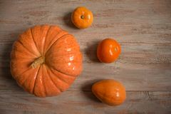 Big and small orange pumkins on the wooden boards.