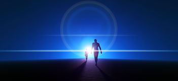 Walking Into the Light. Big and small person walking into the light on the blue horizon Stock Photos