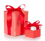 Big and small pink gift boxes Stock Photo