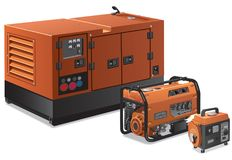 Big and small power generators. Illustration of different type of industrial and small power generators Stock Photography
