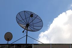 Big and small satellite dish Stock Image