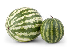 Big and small watermelon on white Stock Photos