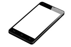 Big Smartphone Blank Screen Isolated. Angle view of black big modern 4.7 inch smartphone with blank screen isolated over white background Stock Photo