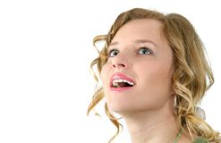 Big smile. Beauty sends kiss on hand. Separate on white Royalty Free Stock Photo