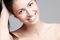 Big smile. Natural beauty woman with big beautiful smile, studio shot Royalty Free Stock Photos