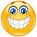 Big smile emoticon. Design of an emoticon with big toothy smile Stock Photo