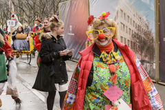 Big smile of female clown at Carnival parade, Stuttgart Stock Photography