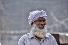 Old Indian man very happy royalty free stock photos