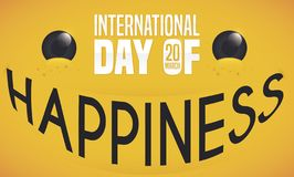 Big Smile with Text to Celebrate International Day of Happiness, Vector Illustration. Commemorative yellow banner with joy expression: letters forming a big stock illustration