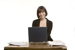 Big smile from a working woman Royalty Free Stock Photos