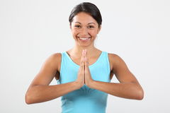 Big smile from young woman in exercise routine Royalty Free Stock Image
