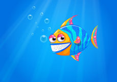 A big smiling fish in the ocean. Illustration of a big smiling fish in the ocean Royalty Free Stock Photo
