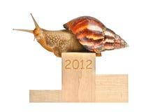 Big snail. On 2012 podium isolated on white Royalty Free Stock Photos