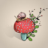 Big snail on mushroom. Cute snail , autumn. baby illustration. Royalty Free Stock Photos