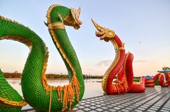 Big snake statues at Wat Sman,Thailand. The statues located beside the river name Bang Pra Royalty Free Stock Photography