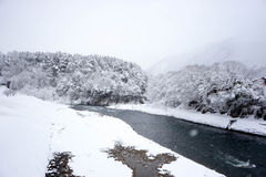 Big snow of river and forest Stock Photos