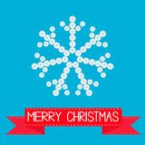 Big snowflake from little buttons. Pink ribbon. Merry Christmas card Flat design Royalty Free Stock Image