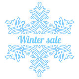 Big snowflake symbol with seasonal winter sale announcement Stock Photos