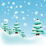 Big snowflakes. Abstract colorful background with big snowflakes falling over fir trees. Winter background Stock Images