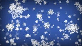 Big Snowflakes Falling on Blue Screen. Winter Snowfall. Merry Christmas and Happy New Year Concept.