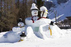 The big snowmens Stock Image