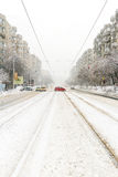 Big snowstorm on city streets Royalty Free Stock Photography