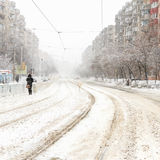 Big snowstorm on city streets Stock Images
